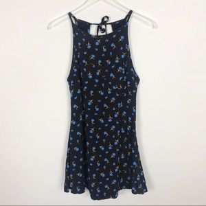 Urban Outfitters Blue and Black Floral Mini Dress